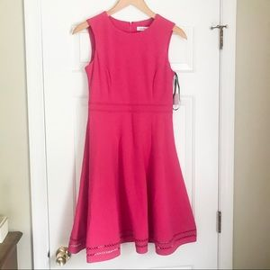 NWT Calvin Klein Bright Pink Fit & Flare Dress